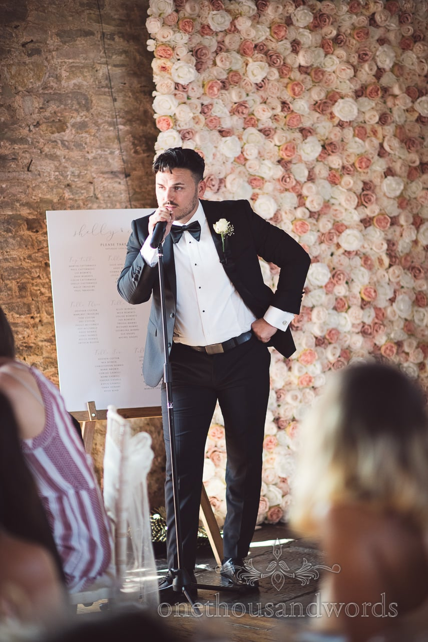 Groom delivers his speech at Purbeck Courtyard Wedding