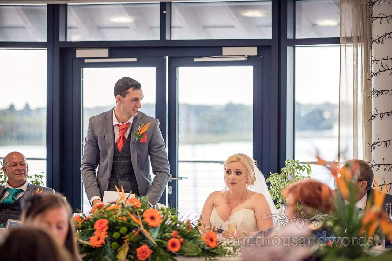 Groom gives emotional wedding speech at RNLI College Wedding breakfast