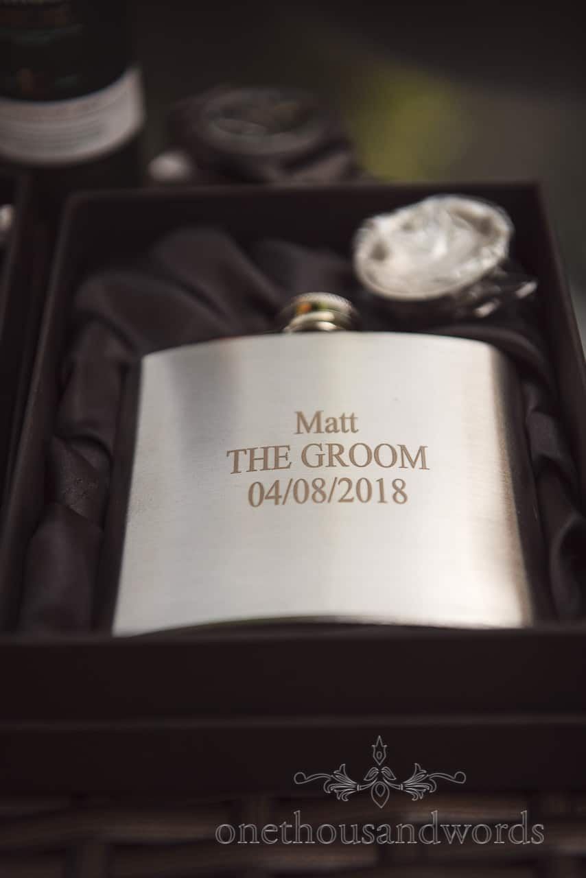 Groom's hip flask with personalised engraving wedding morning gift