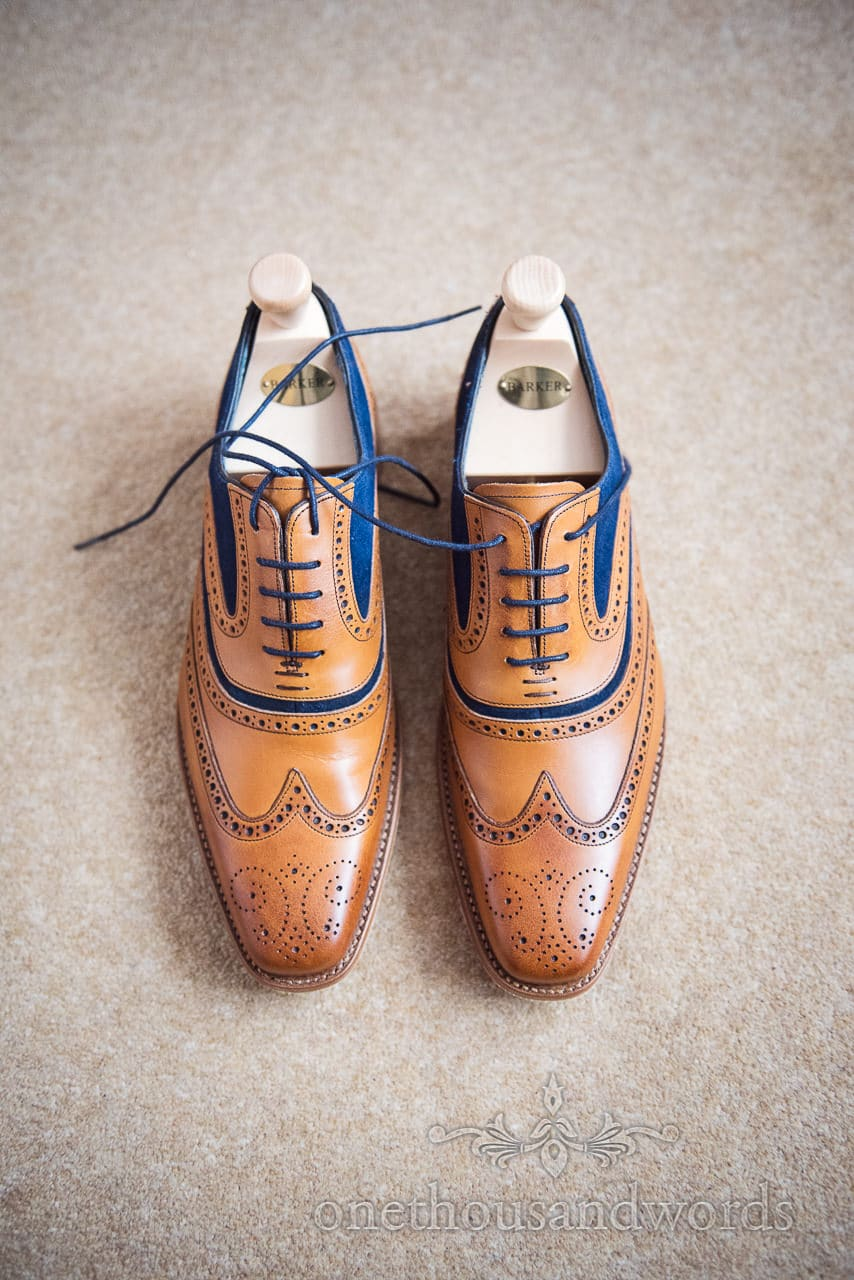 Grooms Barker blue and brown leather wedding brogues on wedding morning