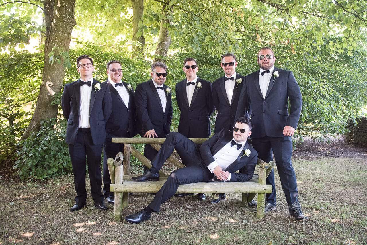 Grooms party group photograph at Country Courtyard Wedding