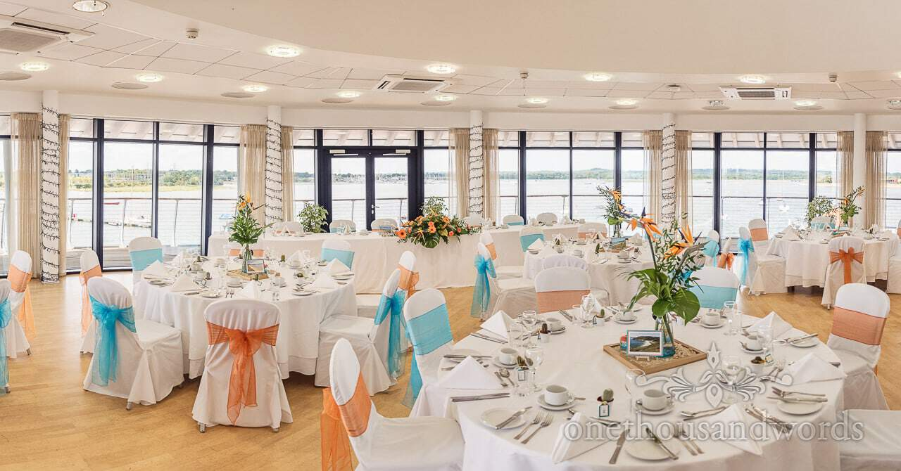Harbour View Suite set up for wedding breakfast at RNLI College Wedding venue