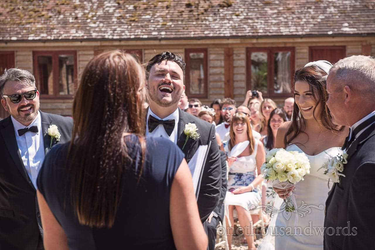 Its all laughs at outdoor ceremony at Purbeck Courtyard Wedding