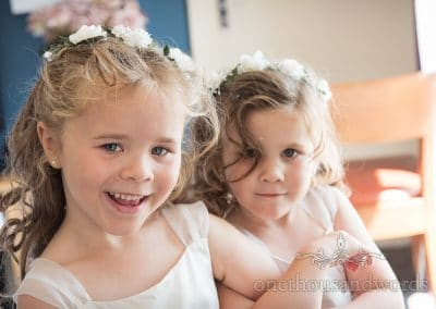 Lovely little flower girls with floral headbands at Sandbanks Hotel Wedding photos