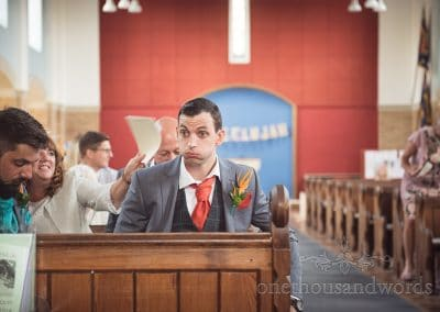 Nervous groom takes deep breaths before church wedding ceremony in Poole