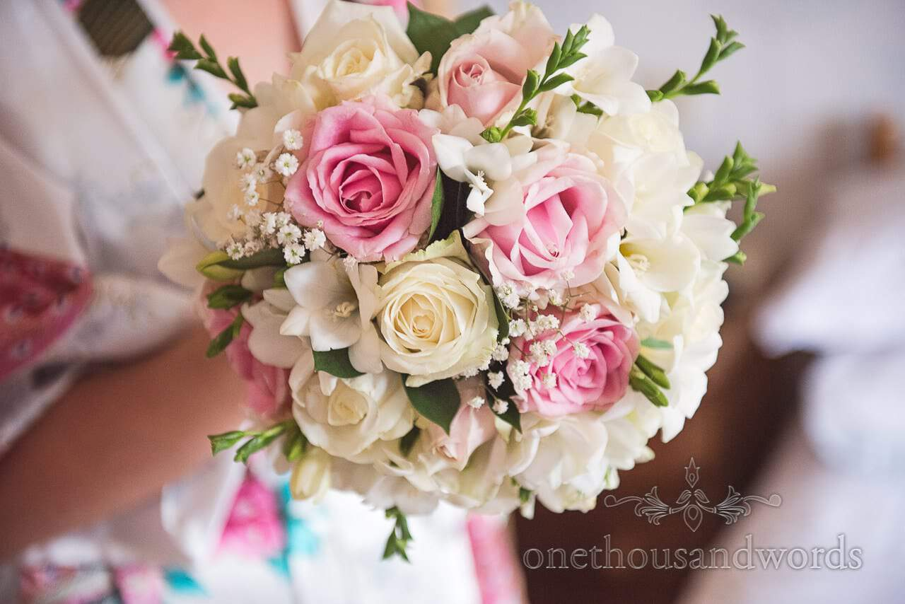 Pastel pink and cream white wedding roses bridal wedding bouquet
