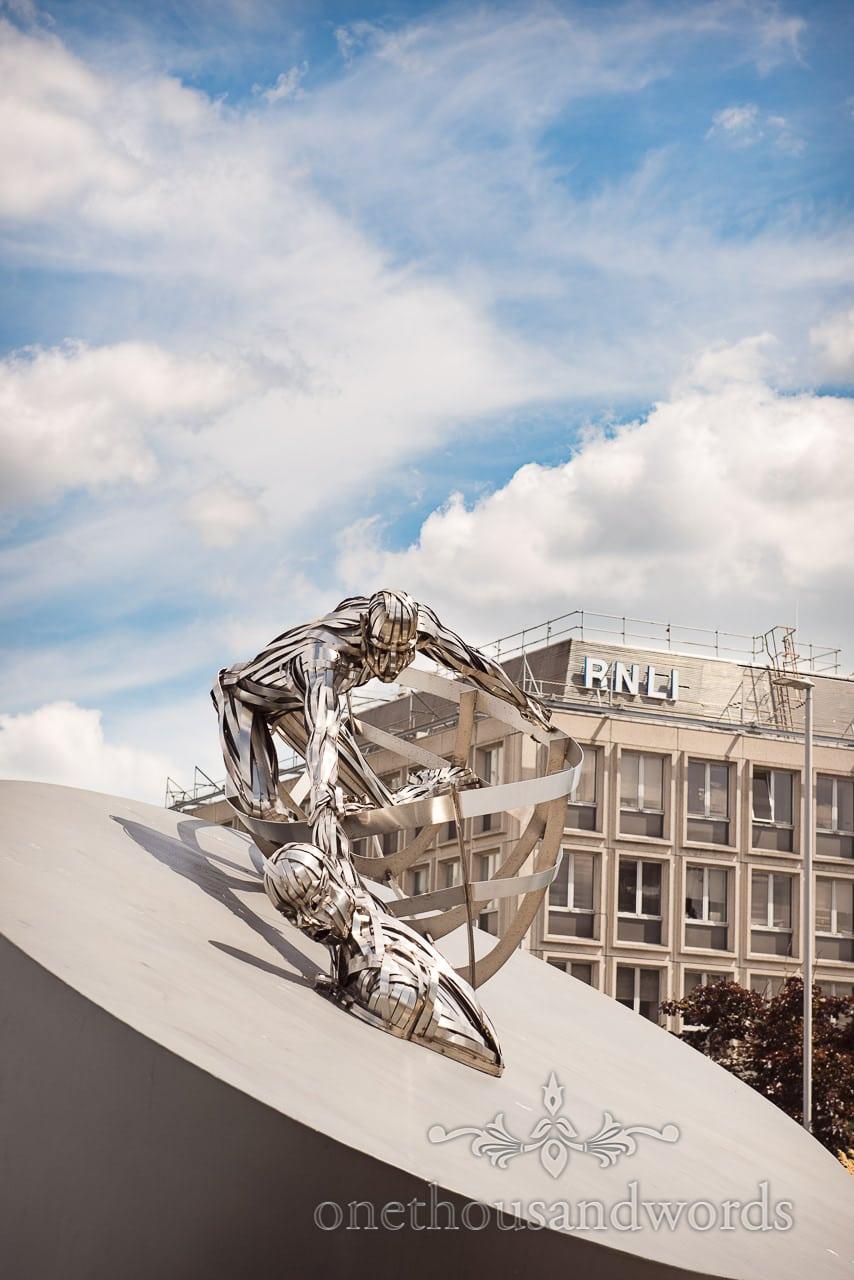 Sam Holland's RNLI Memorial sculpture outside RNLI college in Poole, Dorset