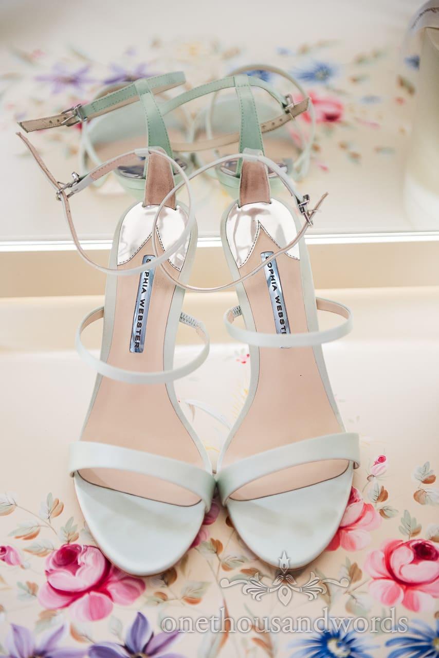 Sophia Webster Rosalind wedding shoes on floral print pattern