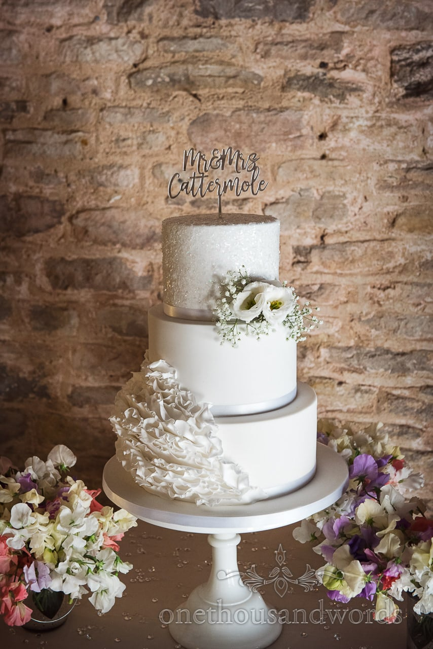 Three tiered cake from Country Courtyard Wedding