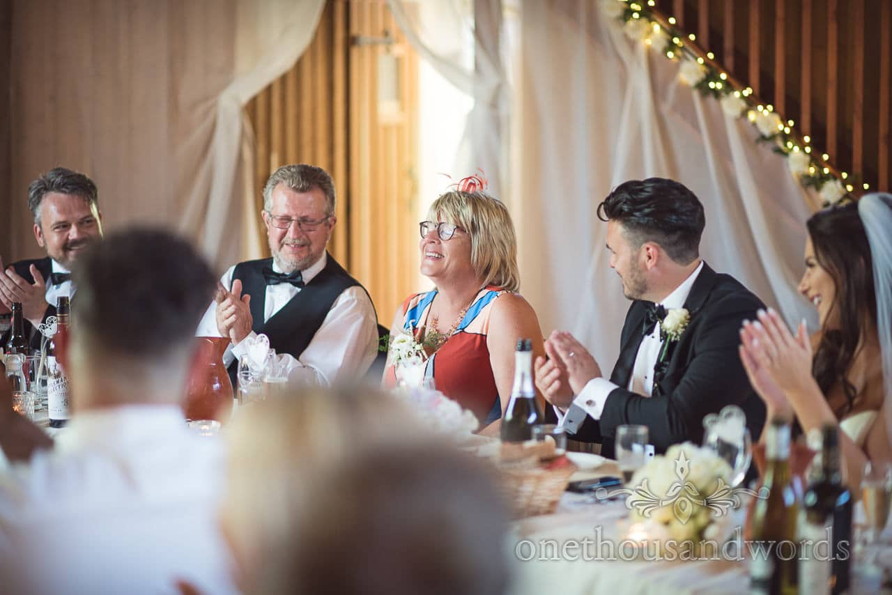 Top table applause during speeches at Country Courtyard Wedding