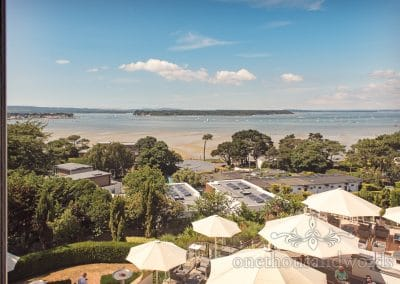 View of Poole Harbour and Brownsea island from Harbour Heights Hotel Wedding