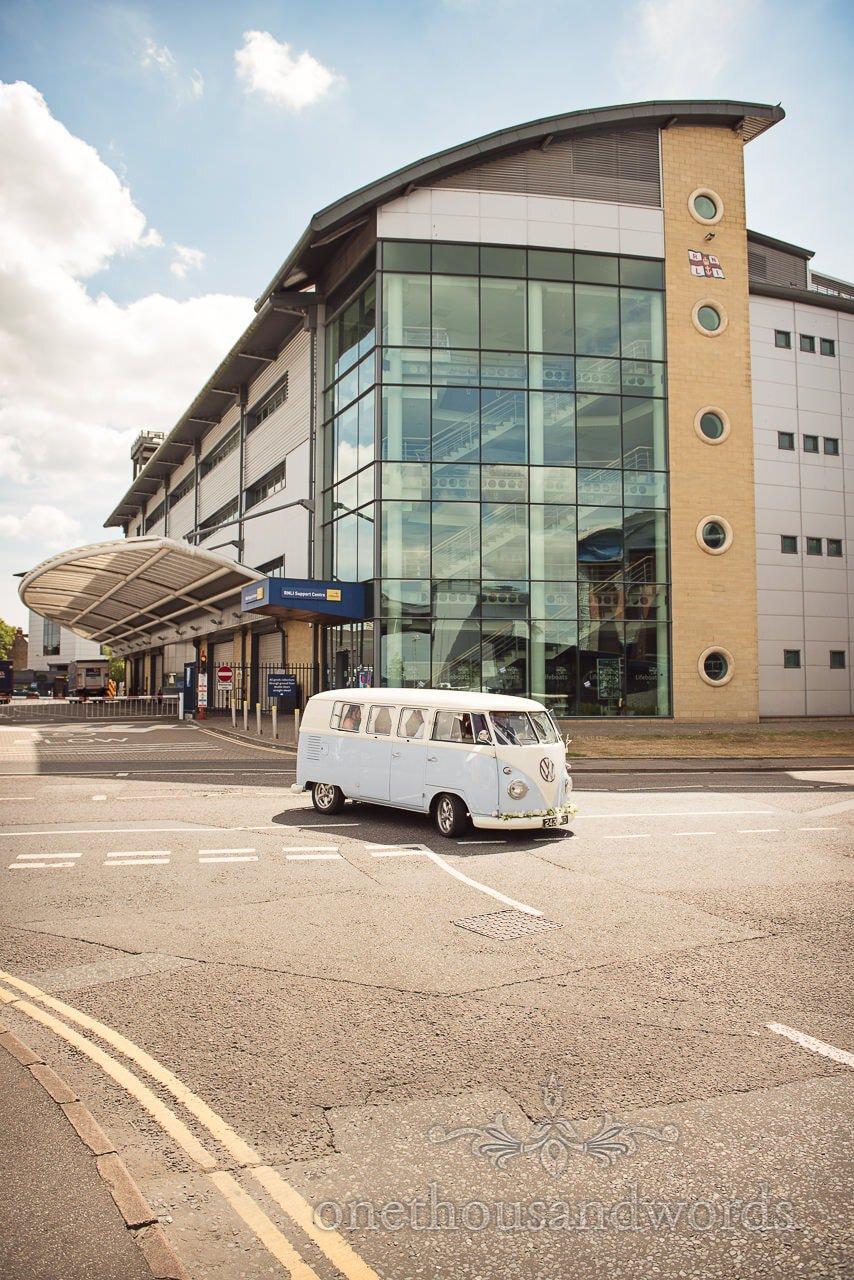 VW Split Screen wedding van at RNLI College Wedding venue in Dorset