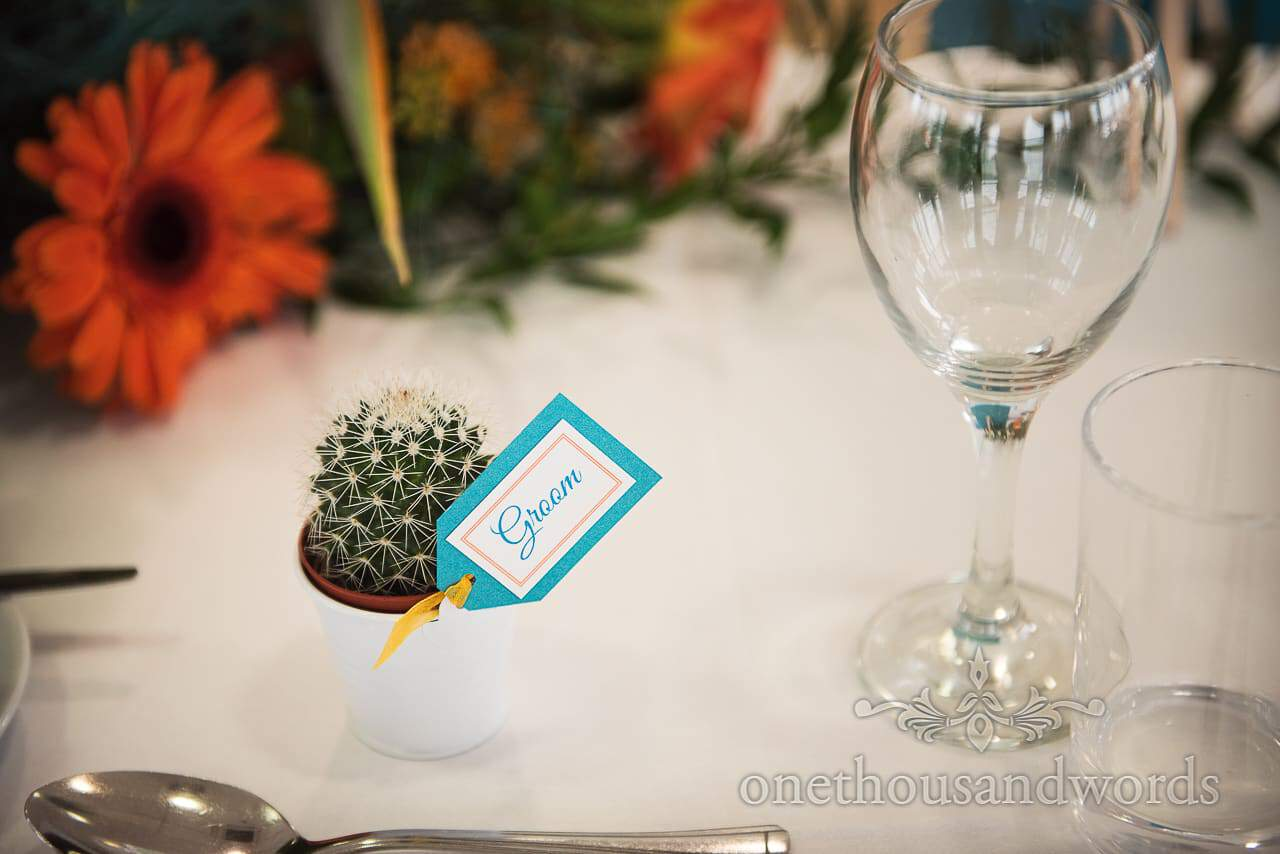 Wedding favour cactus with name tag on wedding tables at RNLI College wedding