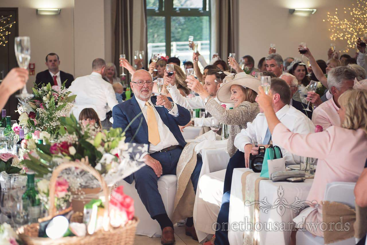 Wedding guests raise glasses to toasts at Harmans Cross Village Hall Wedding