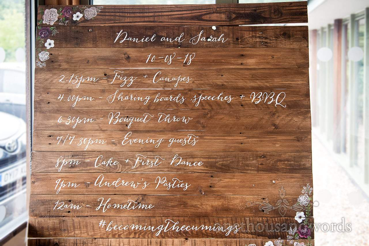 Wedding order of the day white script on dark wooden boards with painted flowers