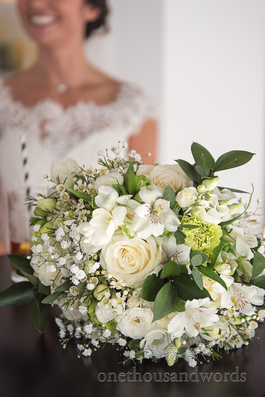 Green and white bridal bouquet from Italian Villa Wedding