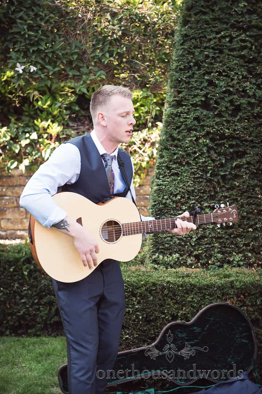 Acoustic guitar performance in the garden at Italian Villa Wedding