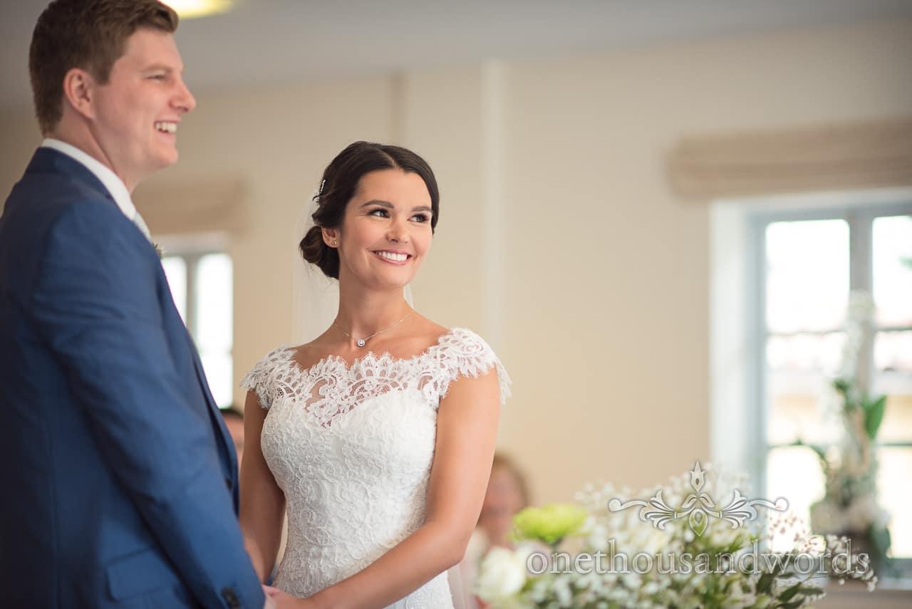Beaming bride and groom at the Italian Villa Wedding Venue