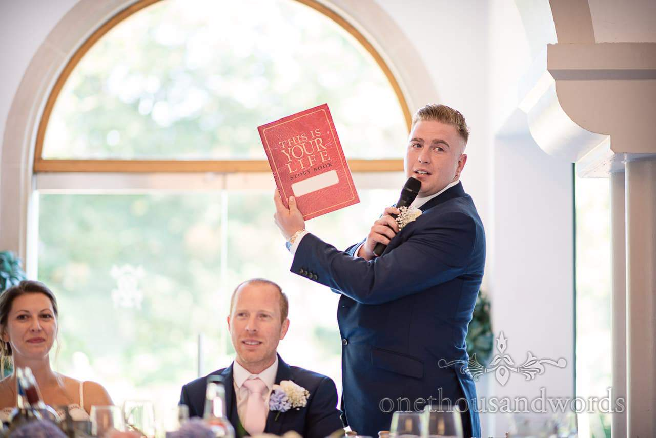 Best man delivers speech with props at Italian Villa Wedding