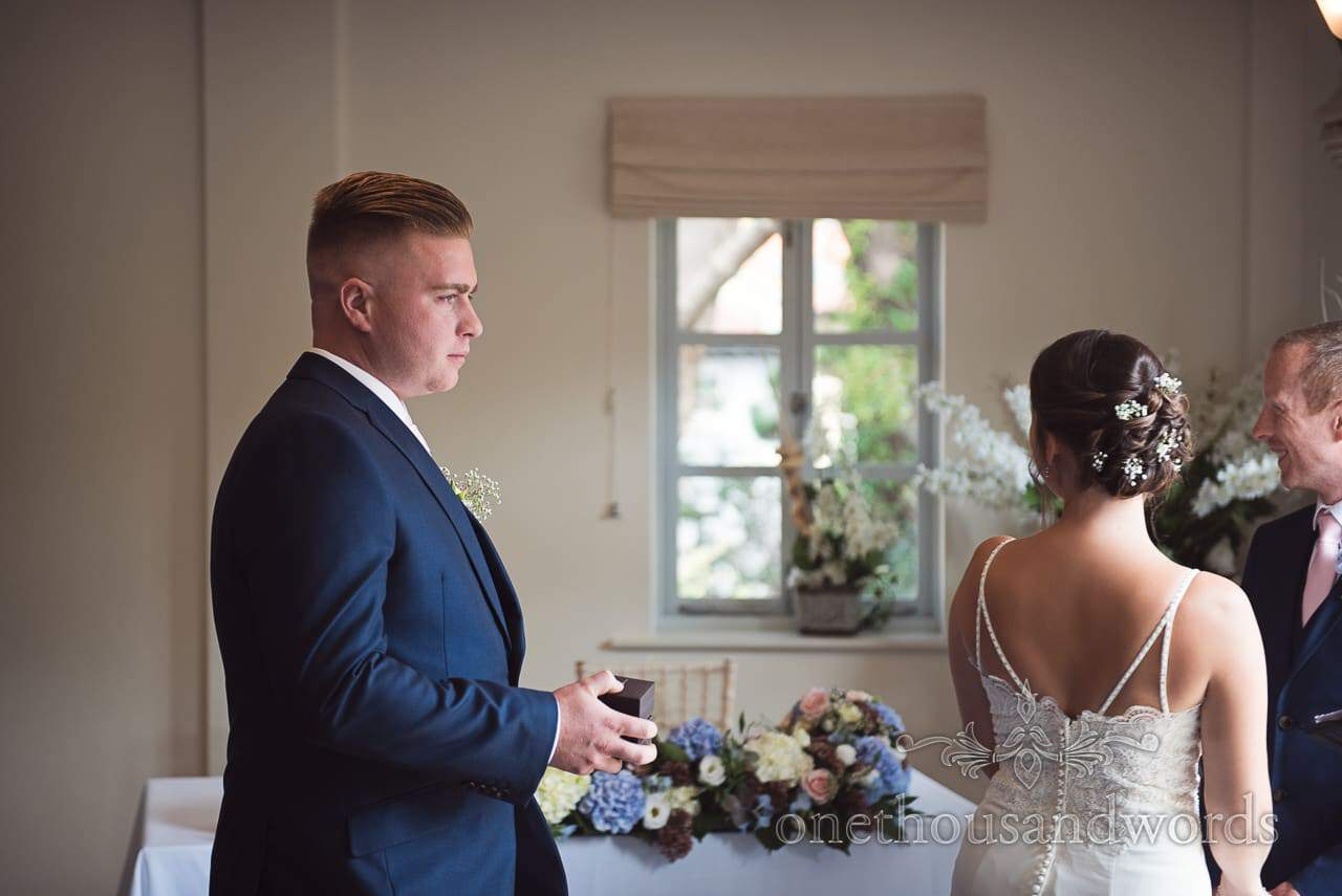 Best man with rings during civil ceremony at Italian Villa Wedding Venue Photos