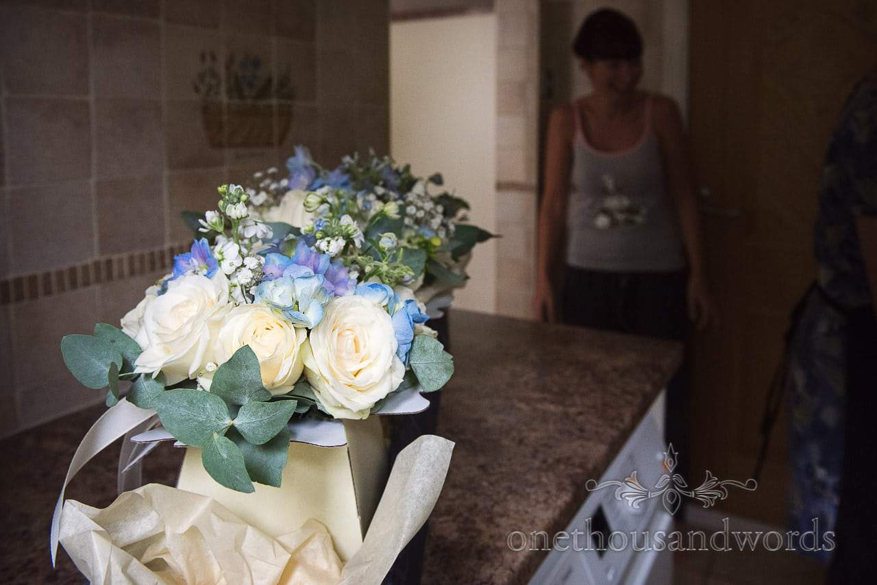 Blue, yellow and green bouquets from Canford School Wedding Photographs
