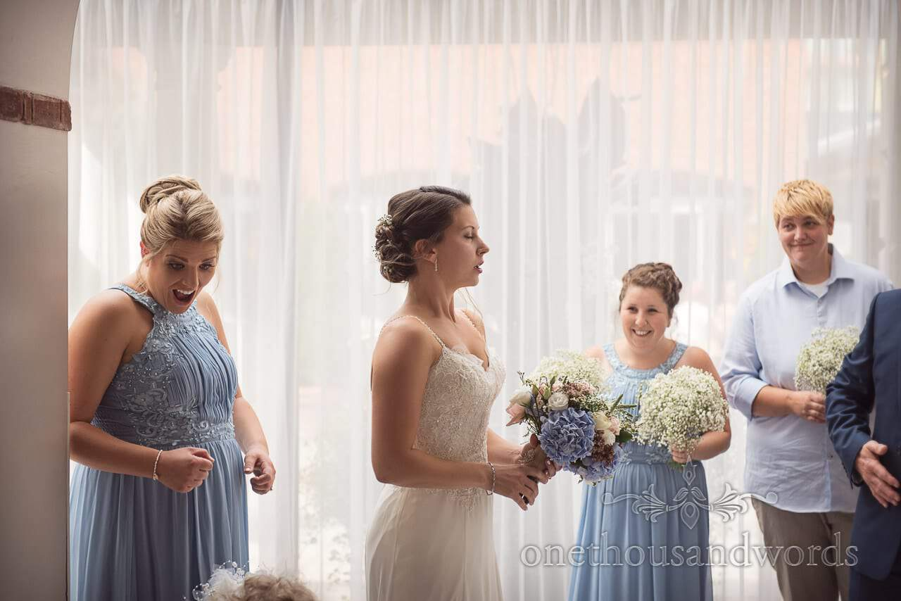 Bridal party arrive at Italian Villa Wedding venue Photos