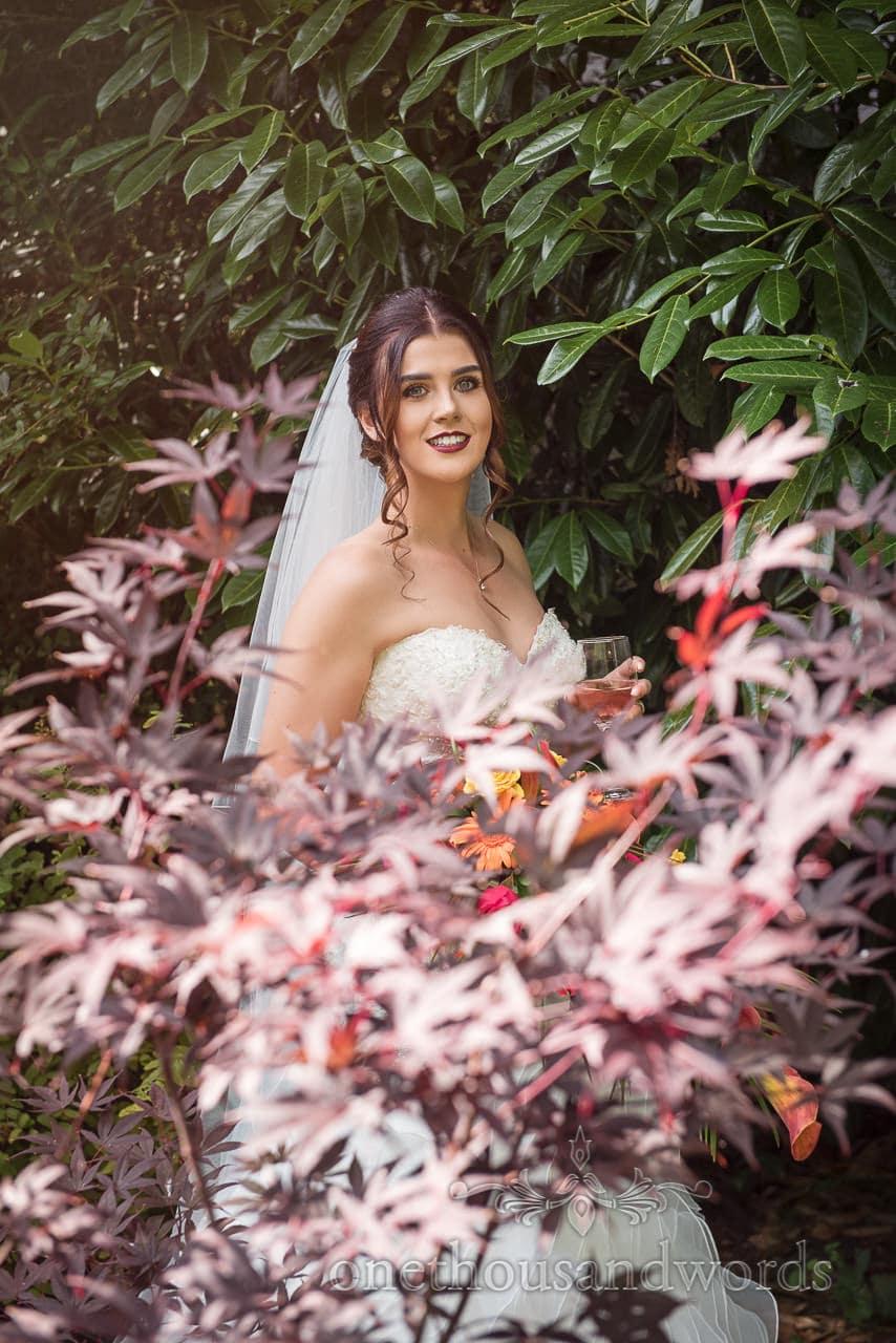 Bridal portrait in botanical garden at The Old Vicarage Wedding Photographs