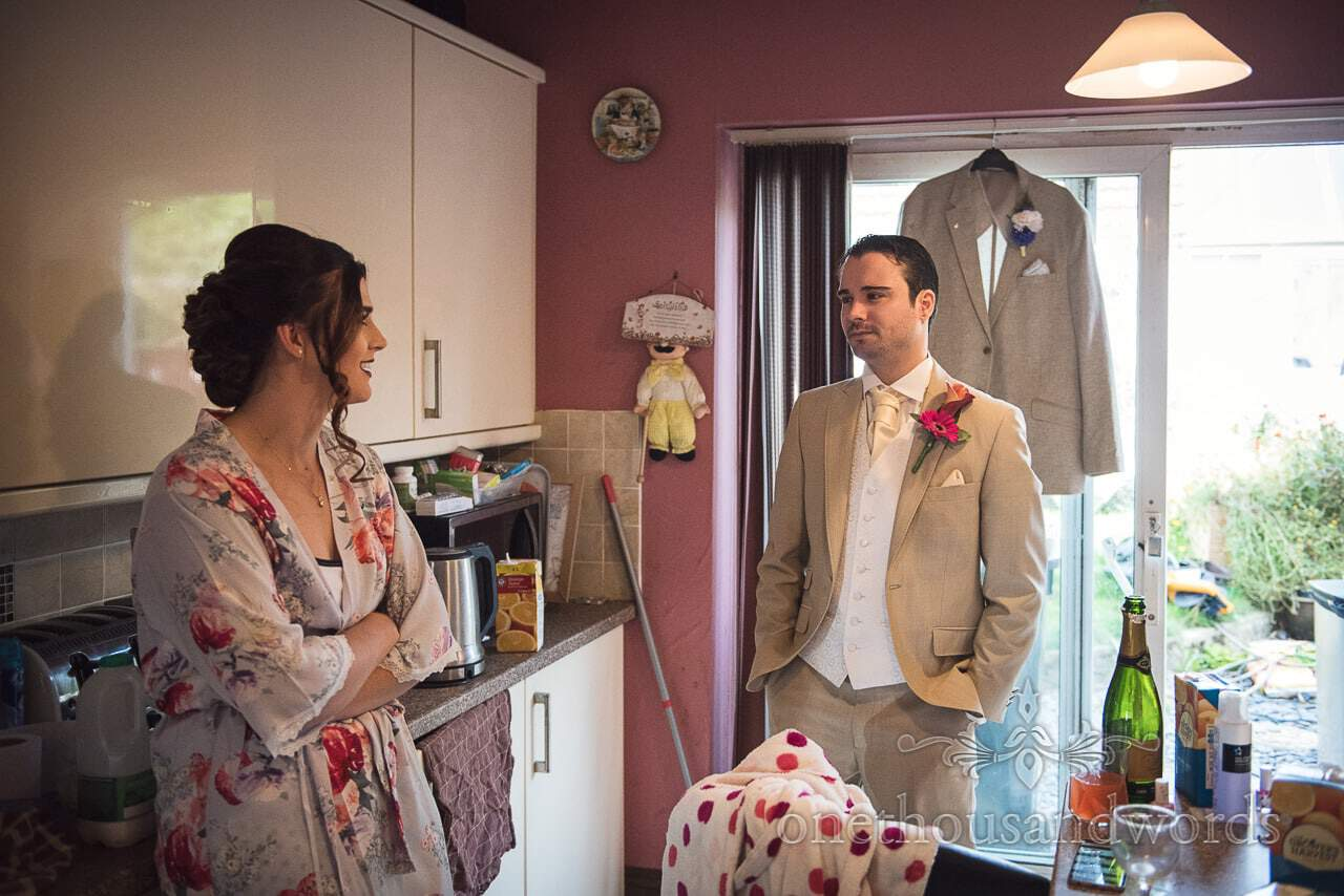 Bride and brother on wedding morning from the Old Vicarage Wedding