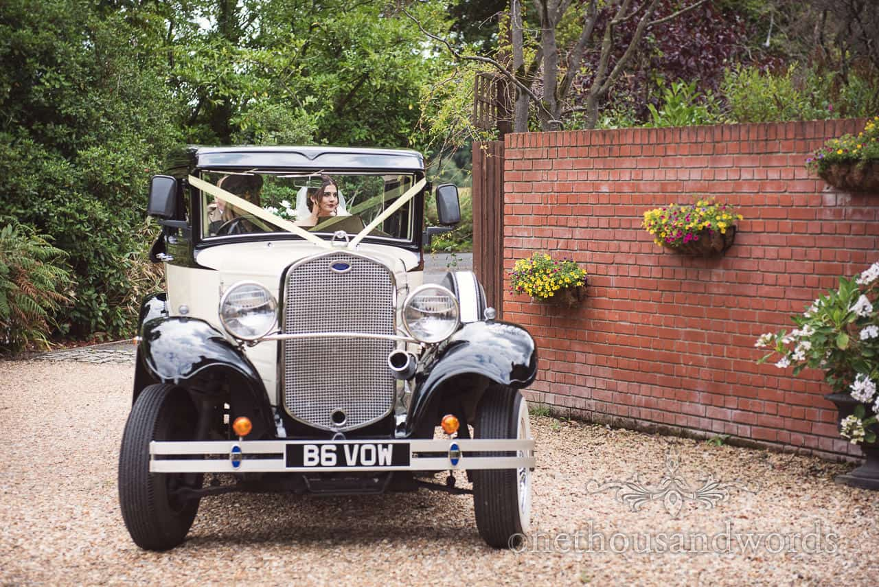Bride and father arrive at The Old Vicarage Wedding Photographs