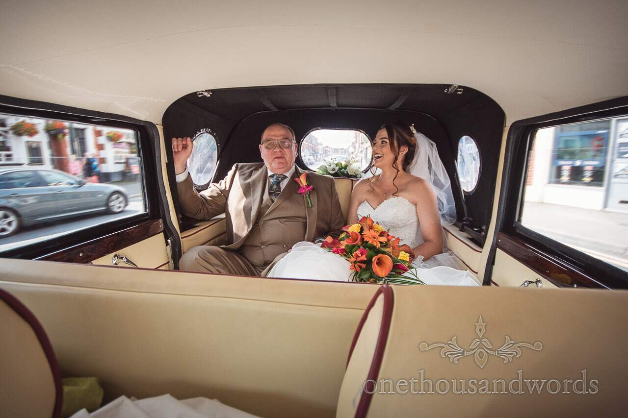 Bride and father in wedding car from Old Vicarage Wedding
