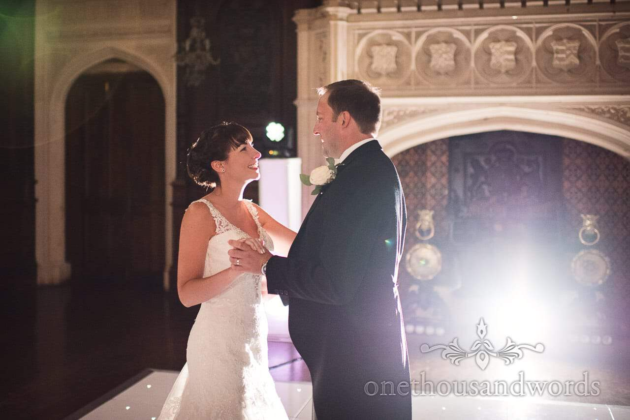 Bride and groom during first dance at Canford School Wedding Photographs