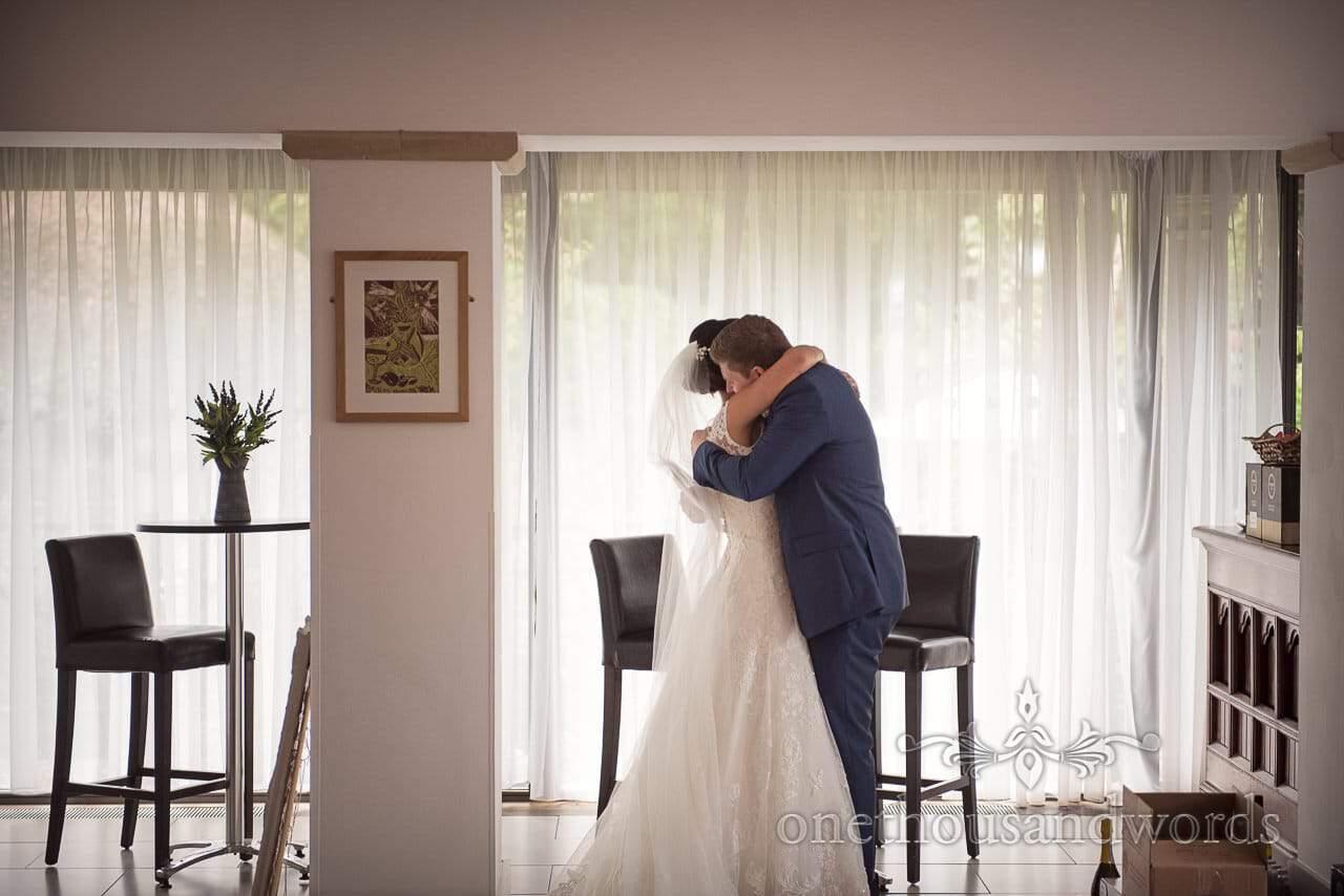 Bride and groom have a moment alone at the Italian Villa Wedding venue