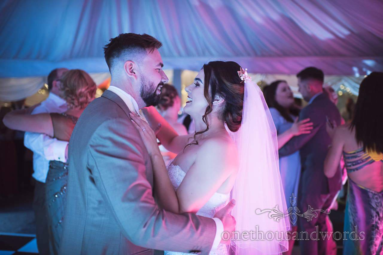 Bride and groom on the dance floor at The Old Vicarage Wedding