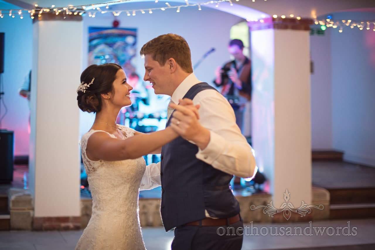 Bride and groom's first dance at The Italian Villa wedding venue in Poole, Dorset