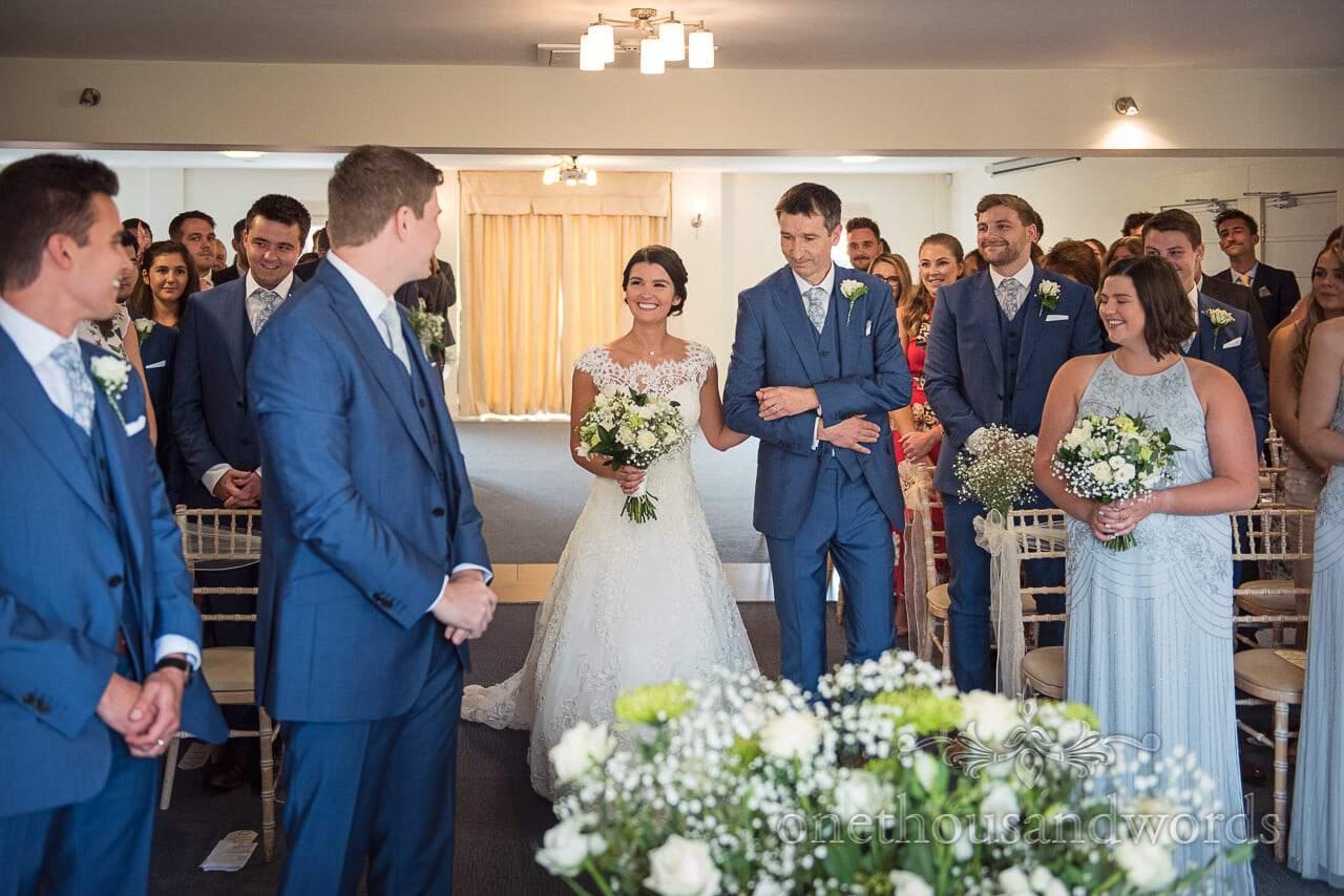 Bride arrives in the Medici Suite at Italian Villa Wedding venue