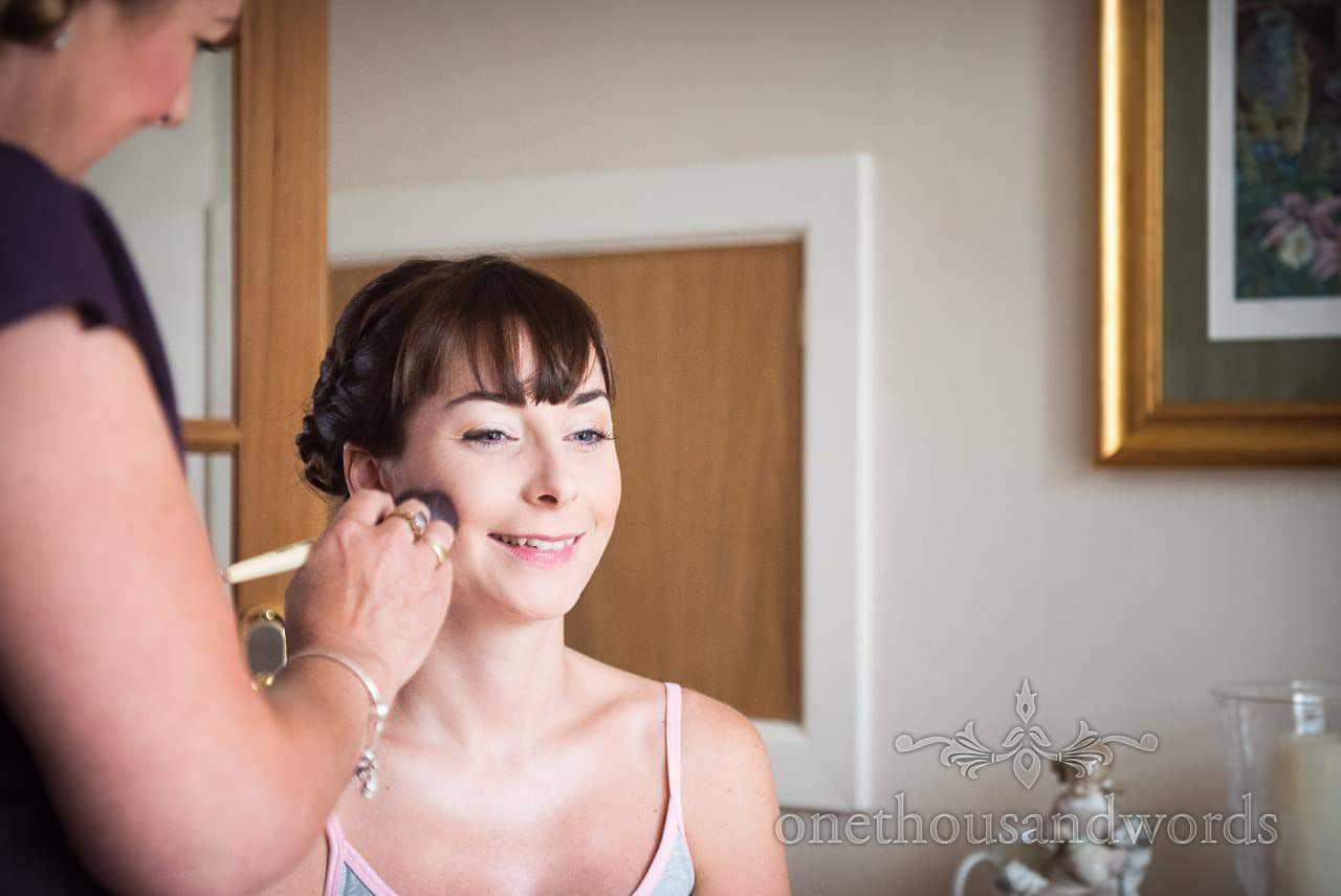 Bride during morning preparations before Canford School Wedding