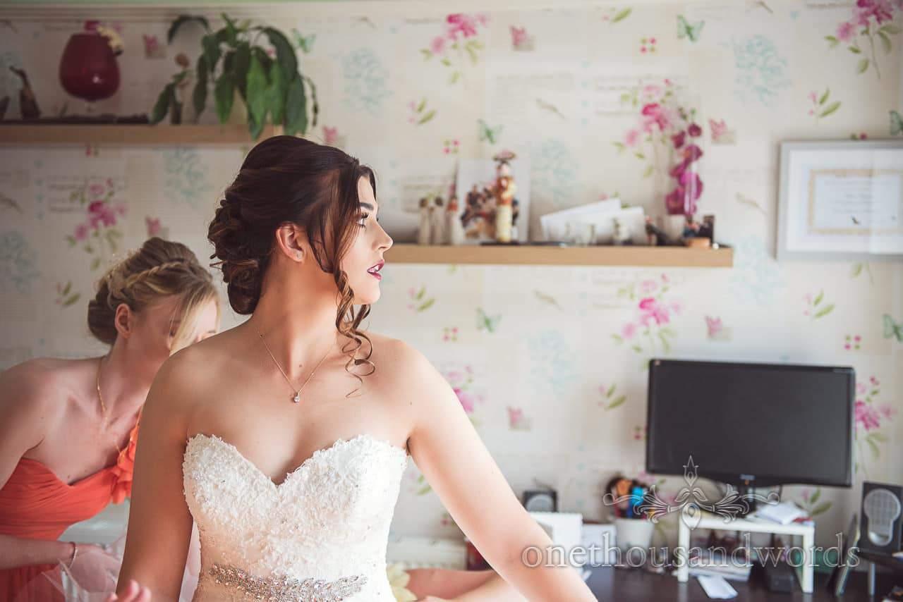 Bride during morning preparations before Old Vicarage Wedding