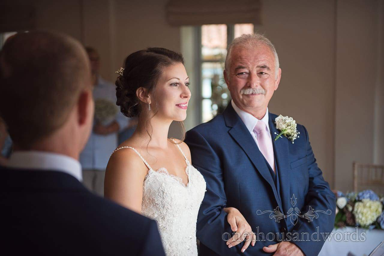 Bride and father during civil ceremony at Italian Villa Wedding Venue Photos