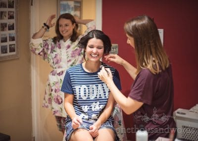 Bride has hair styled at home before Italian Villa Wedding
