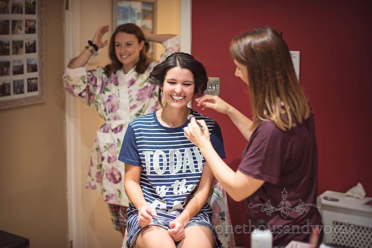 Bride has hair styled at home before Italian Villa Wedding