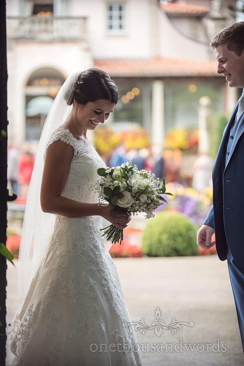 Bride holding wedding bouquet at The Italian Villa Wedding venue in Poole