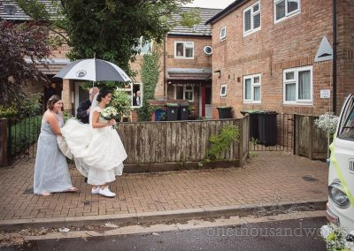 Bride makes her way to transport on morning of Italian Villa Wedding