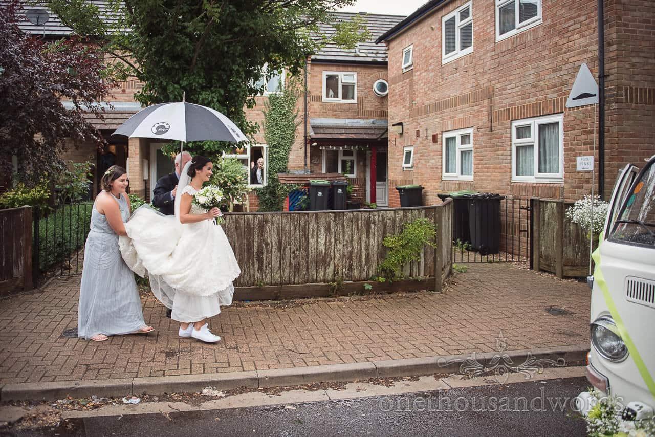 Bride makes her way to transport on morning of Italian Villa Wedding