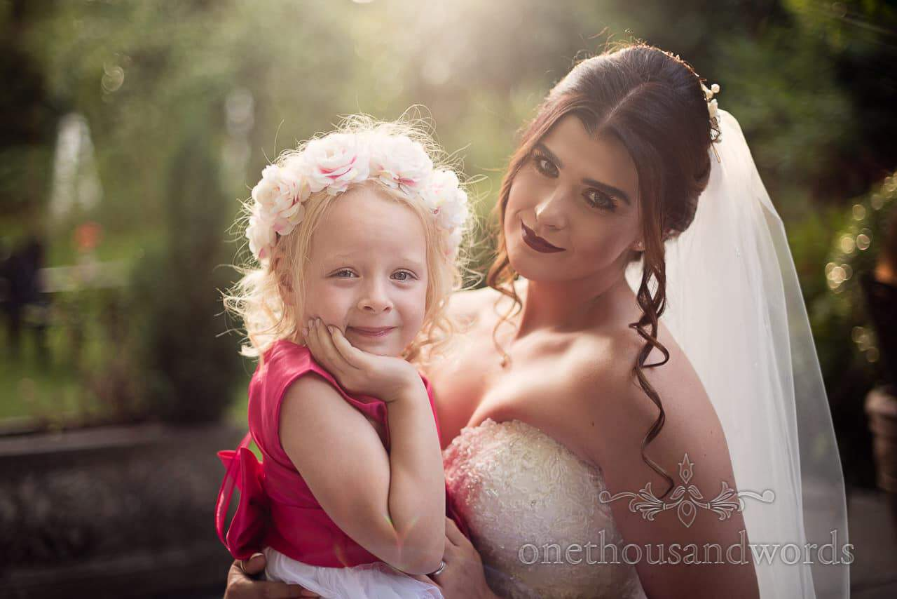 Bride with flower girl from the Old Vicarage Wedding Photographs
