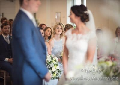 Bridesmaid during ceremony at the Italian Villa Wedding venue