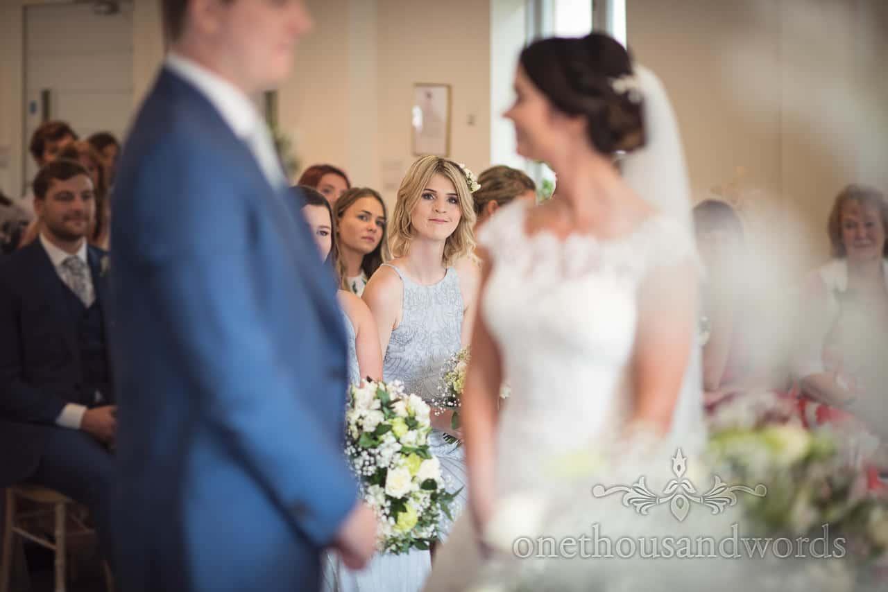 Bridesmaid during ceremony at the Italian Villa Wedding venue