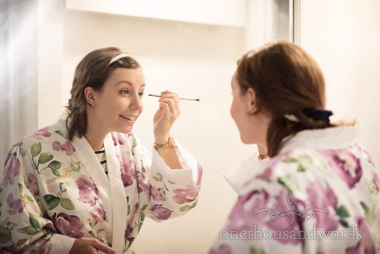 Bridesmaid in mirror on morning of Italian Villa Wedding