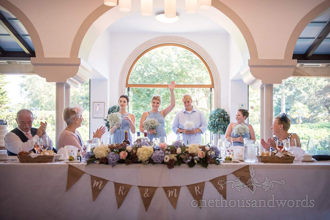 Bridesmaids make their entrance at Italian Villa Wedding venue photos