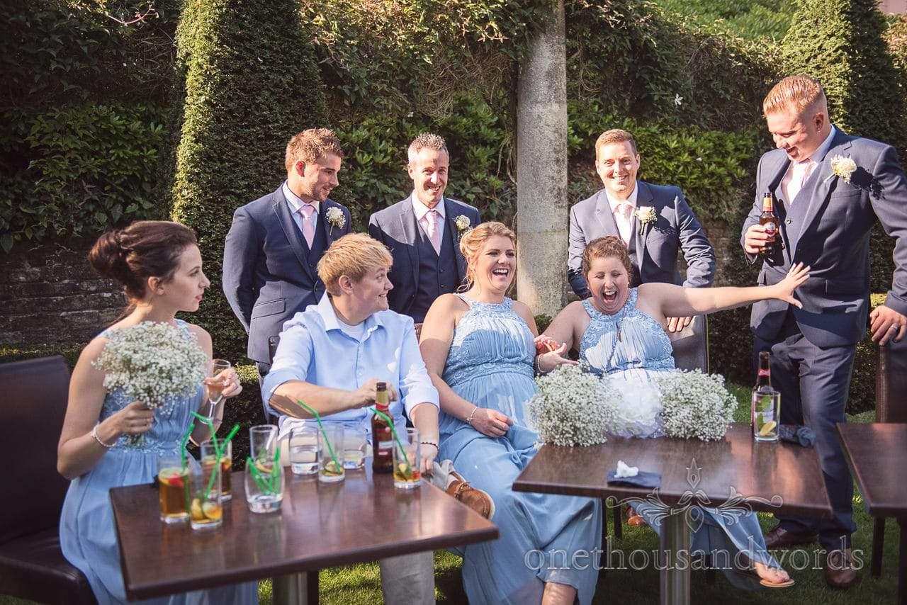 Bridesmaids and groomsmen in garden at Italian Villa Wedding