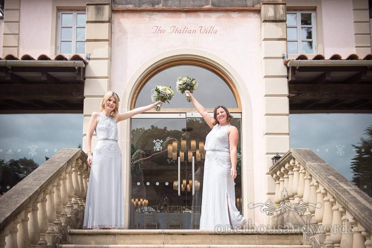 Bridesmaids strike a pose at Italian Villa Wedding venue